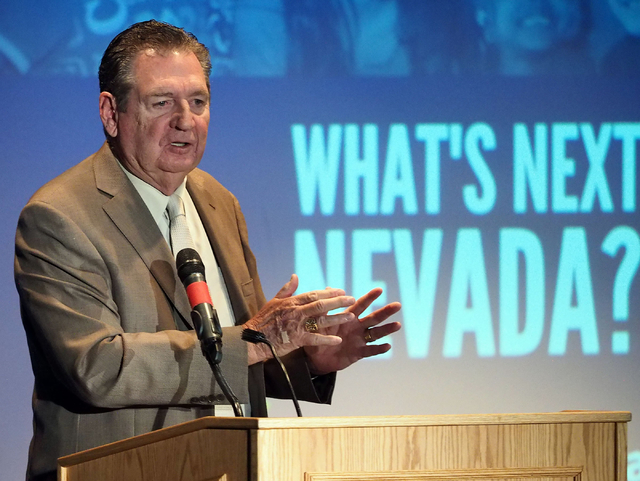 "Former Gov. Bob Miller speaks about the ""What's Next Nevada?"" project at Bonanza High School in Las Vegas, Tuesday, May 17, 2016. An alliance of community leaders met to discuss  ..."