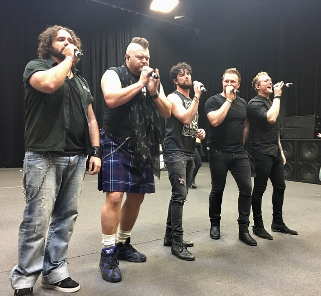 """The """"Tenors of Rock"""" rehearse at SIR Studios in Las Vegas on Thursday, Jan. 5, 2016. Shown from left are Jonathan Williams, Jimmy Denning, Tommy Sherlock, Gareth Richards and Dai Richards. (Las Ve ..."""