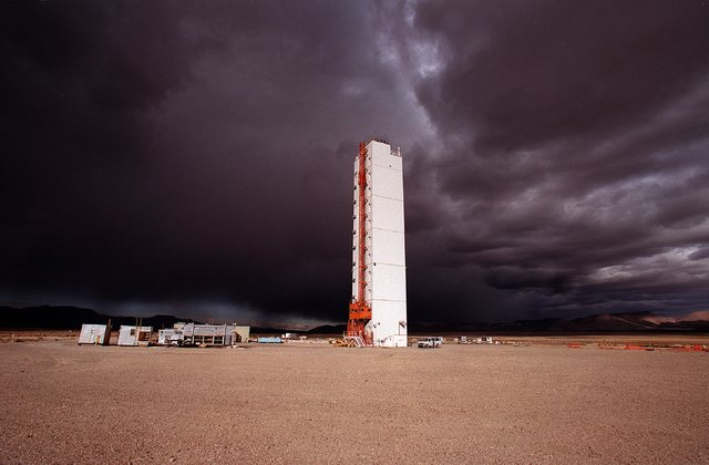 Built in 1992 for an underground nuclear test, the Icecap Tower at the Nevada Test Site is located about 65 miles northwest of Las Vegas. (John Gurzinski/Las Vegas Review-Journal)