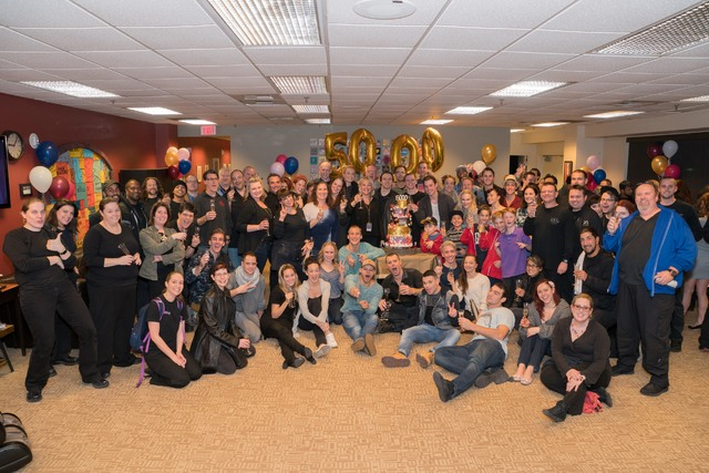 "Cast members celebrate the 5,000th performance of ""The Beatles Love"" by Cirque du Soleil at The Mirage in Las Vegas. (Cirque du Soleil)"