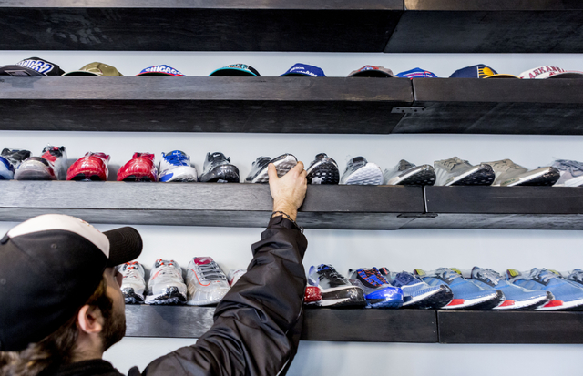 Cory Hurtbise, a costumer of Capital Sneaker Boutique in Towns Square, looks at different shoes in the store, Las Vegas, Monday, Jan. 28, 2017. (Elizabeth Brumley/Las Vegas Review-Journal) @EliPag ...