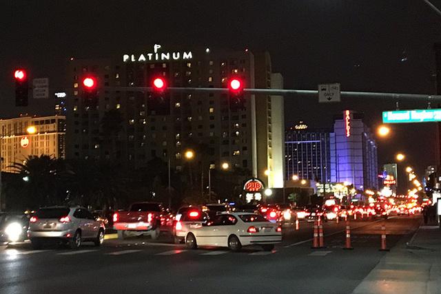 Traffic gets congested toward the Las Vegas Strip around 6:30 p.m. (Pashtana Usufzy/ Las Vegas Review-Journal)