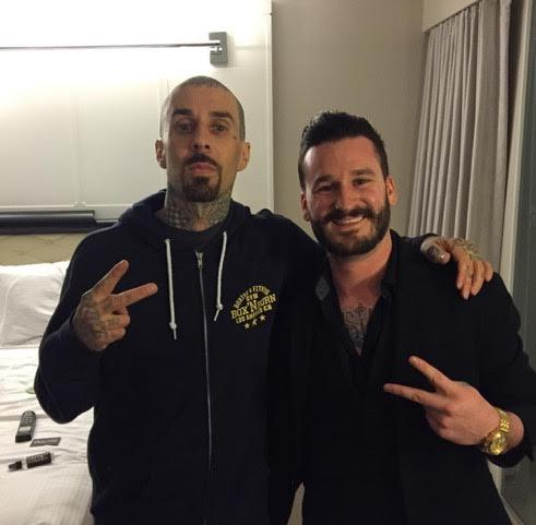 Travis Barker and Ryan James Sullivan at Kelly Cardenas Salon at The Hard Rock Hotel in Las Vegas. (Courtesy)