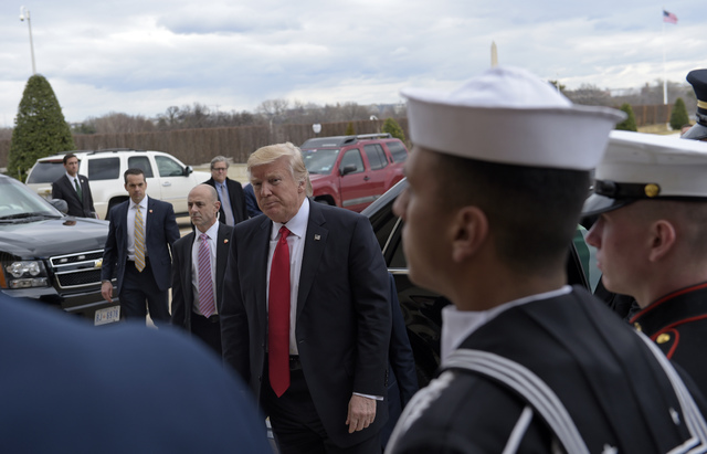 President Donald Trump arrives at the Pentagon, Friday, Jan. 27, 2017, for the ceremonial swearing-in for Defense Secretary James Mattis. (Susan Walsh/AP)