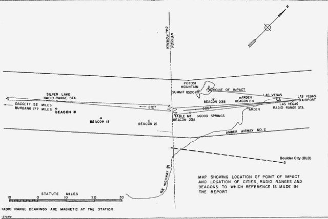 A sketch by Warren E. Carey's of the crash scene. Carey was the lead Civil Aeronautics Board investigator. (Courtesy of Robert Matzen)