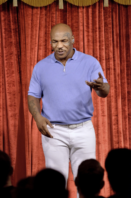 "Mike Tyson performs in his one-man show ""Undisputed Truth"" at Brad Garrett's Comedy Club in the MGM hotel-casino at 3799 S. Las Vegas Blvd. on Sunday, Sept. 18, 2016. Bill Hughes/Las Vegas Rev ..."