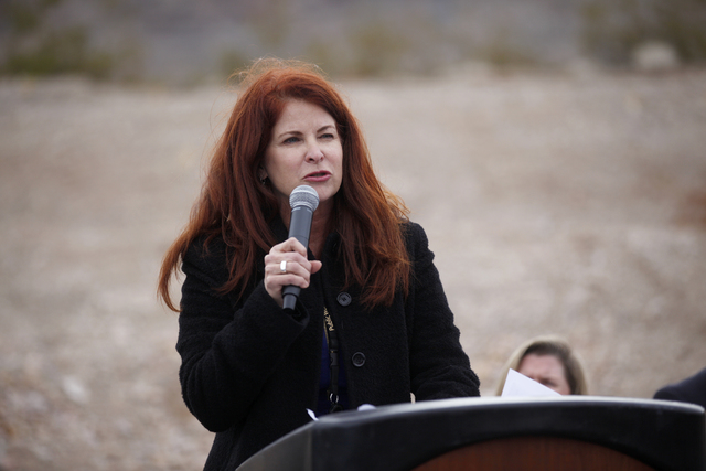 Henderson Councilwoman Debra March addresses the crowd at an event to break ground on Nevada's first unmanned aerial systems urban test site on Wednesday, Jan. 4, 2016, at Nevada State College in  ...