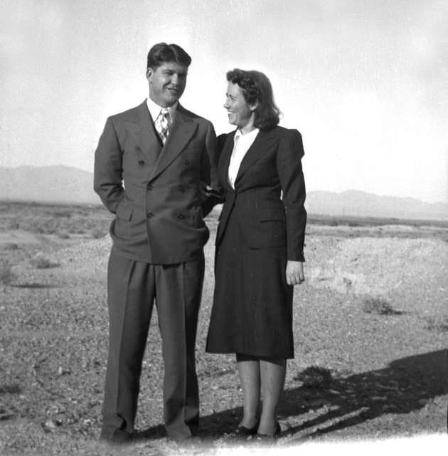 """Lyle Van Gordon and his wife Elizabeth. Van Gordon heard the plane hit the mountain from Goodsprings and got right into action. It's all in the book. Lyle was known as """"Bull"""" for ..."""