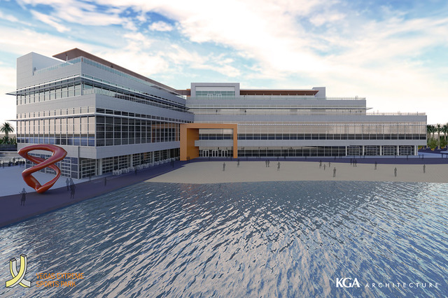 This is a rendering of part of the project which Australian developer Josh Kearney plans to build The Edge, an $800 million project with a hotel, water sports and other attractions.  (Courtesy Jos ...