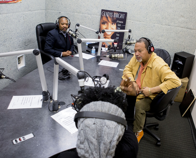 General Manager of KCEP, Craig Knight, left,  joins co-hosts of 'The Breakdown', Lady Ak, center, and Franklyn Verley, right, at the KCEP station in Las Vegas, Jan. 4, 2017. (Elizabeth Brumley/Las ...