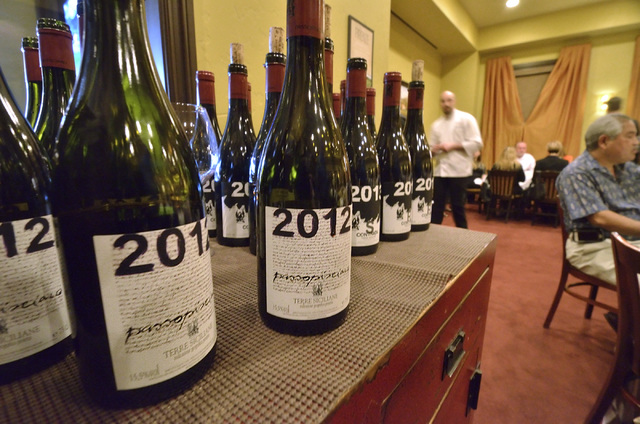 """Passopisciaro wines are shown during the """"Taste and Learn"""" event at Ferraro's Italian Restaurant and Wine Bar at 4480 Paradise Road in Las Vegas on Saturday, Oct. 29, 2016. Bill Hugh ..."""