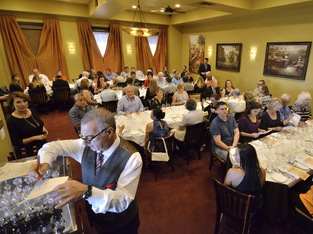 """The dining area is shown for the """"Taste and Learn"""" event at Ferraro's Italian Restaurant and Wine Bar at 4480 Paradise Road in Las Vegas on Saturday, Oct. 29, 2016. Bill Hughes/Las V ..."""