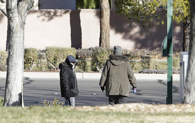 People walk during sunny but cold morning at Discovery Park Friday, Jan. 27, 2016, in Henderson. (Bizuayehu Tesfaye/Las Vegas Review-Journal) @bizutesfaye