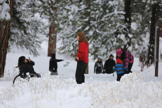 People enjoy a snow day in Kyle Canyon outside of Las Vegas on Friday, Jan. 13, 2017. Mount Charleston has seen more than a foot of snowfall in the last 24 hours. Brett Le Blanc/Las Vegas Review-J ...