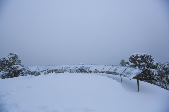 Clouds obscure the desert overlook on Mount Charleston outside of Las Vegas on Friday, Jan. 13, 2017. Mount Charleston has seen more than a foot of snowfall in the last 24 hours. Brett Le Blanc/La ...