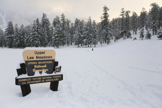 Snow covers the Upper Lee Meadows in Lee Canyon outside of Las Vegas on Friday, Jan. 13, 2017. Mount Charleston has seen more than a foot of snowfall in the last 24 hours. Brett Le Blanc/Las Vegas ...