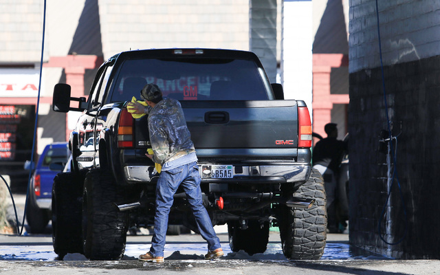 A man washes his truck at a car wash off of Charleston Boulevard on Saturday, Jan. 28, 2017, in Las Vegas. Brett Le Blanc/Las Vegas Review-Journal Follow @bleblancphoto