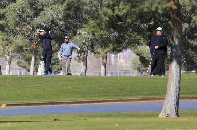 Golfers tee off at the Las Vegas Golf Club on Saturday, Jan. 28, 2017, in Las Vegas. Brett Le Blanc/Las Vegas Review-Journal Follow @bleblancphoto