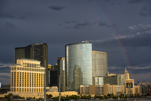 A rainbow reveals itself against rain clouds over the Strip in Las Vegas. (Joshua Dahl/Las Vegas Review-Journal)