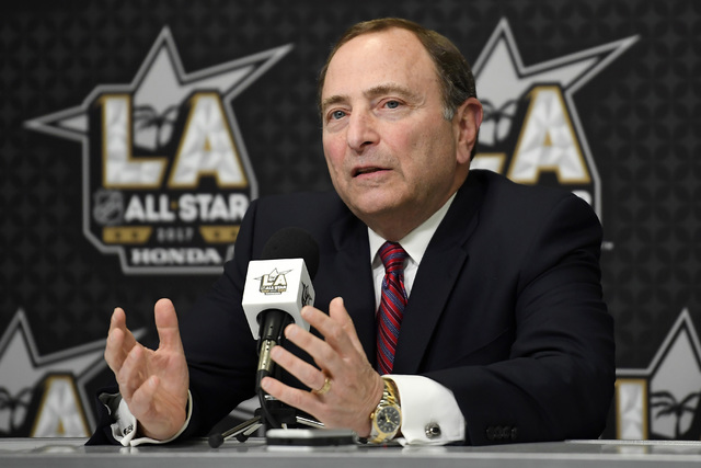 NHL commissioner Gary Bettman speaks during a news conference at Staples Center, Saturday, Jan. 28, 2017, in Los Angeles. The NHL All-Star Game is scheduled to be played at Staples Center on Sunda ...