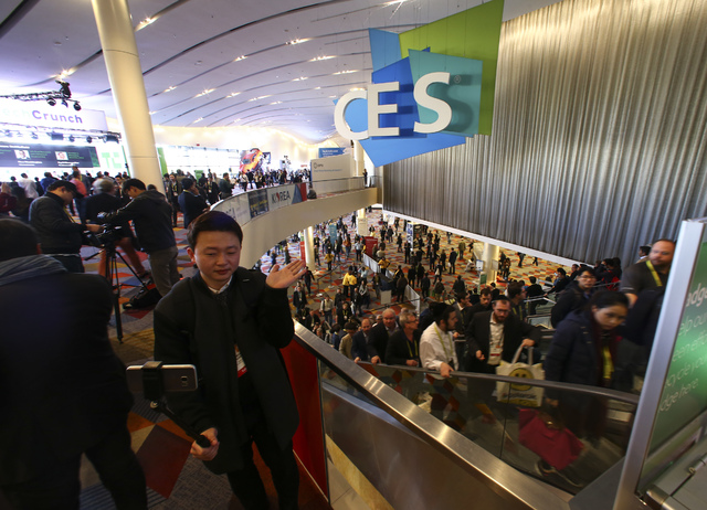 Jeungmin Choi records himself during CES at the Sands Expo and Convention Center in Las Vegas on Friday, Jan. 6, 2017. (Chase Stevens/Las Vegas Review-Journal) @csstevensphoto
