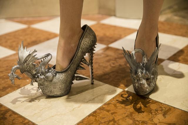Hannah Madigan stands in the lobby of the Venetian hotel-casino wearing custom zombie peep show heels on Saturday, Dec. 31, 2016, on New Year's Eve, in Las Vegas. Benjamin Hager/Las Vegas Review-J ...