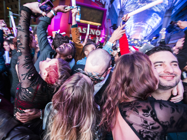 Revelers celebrate the new year during America's Party on Fremont Street on Sunday, January 1, 2017. Jeff Scheid/Las Vegas Review-Journal Follow @jeffscheid