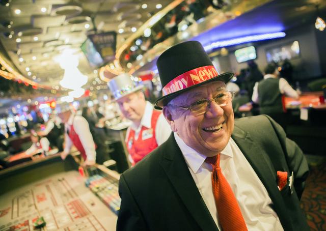 Plaza hotel/casino pit boss Edwin Carrion takes in theNew Year's Eve scene on Saturday, Dec. 31, 2016. Jeff Scheid/Las Vegas Review-Journal Follow @jeffscheid