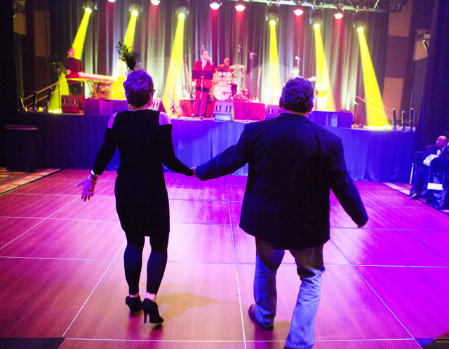A couple walks out to dance during a VIP party at the Golden Nugget on Saturday, Dec. 31, 2016. Jeff Scheid/Las Vegas Review-Journal Follow @jeffscheid