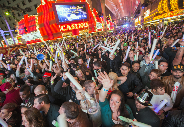 Revelers count down he new year during America's Party on Fremont Street on Saturday, December 31, 2016. Jeff Scheid/Las Vegas Review-Journal Follow @jeffscheid