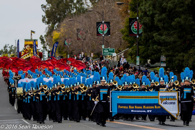 Foothill High School's marching band and color guard participate in the 128th Tournament of Roses Parade in Pasadena California, January 2, 2017. (Sean Thueson)