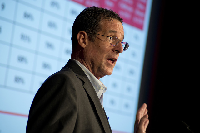 UNLV Professor of Urban Affairs, Robert E. Lang speaks during a post-election analysis of voter trends inside the Greenspun Hall Auditorium at UNLV in Las Vegas on Tuesday, Nov. 15, 2016. Daniel C ...