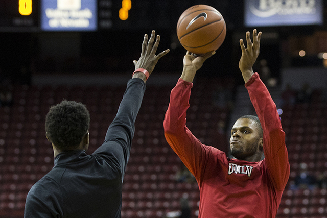 UNLV's Tyrell Green (3) warms up before the start of the Rebels home matchup with the Broncos on Wednesday, Jan. 4, 2016, at the Thomas & Mack Center, in Las Vegas. (Benjamin Hager/Las Vegas R ...