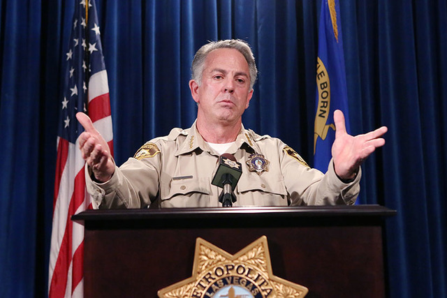 Clark County Sheriff Joseph Lombardo briefs the media on a violent crime spike during a news conference at Las Vegas police headquarters in April. (Bizuayehu Tesfaye/Las Vegas Review-Journal Follo ...