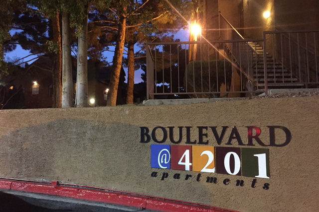 The front sign of the apartment complex at 4201 S. Decatur Blvd, where police say a woman was kidnapped on Monday, Jan. 30, 2017. (Blake Apgar/Las Vegas Review-Journal)