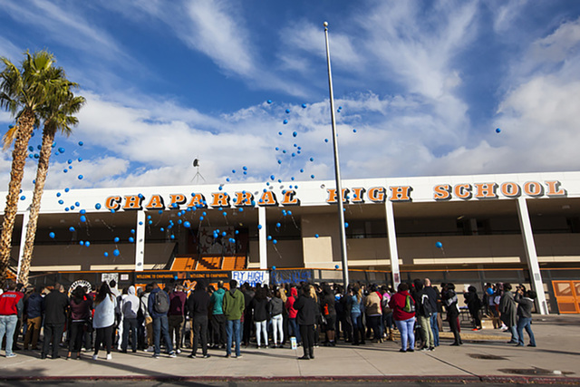 Attendees release balloons at the end of a memorial service for Richard Nelson at Chaparral High School in Las Vegas on Thursday, Jan. 19, 2017. (Miranda Alam/Las Vegas Review-Journal) @miranda_alam