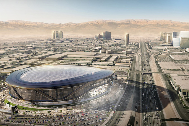 A rendering shows how the proposed domed stadium for Las Vegas might look on land west of Interstate 15 and Mandalay Bay. (MANICA Architecture)