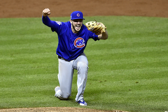 Chicago Cubs third baseman Kris Bryant celebrates after defeating the Cleveland Indians in game seven of the 2016 World Series at Progressive Field. (David Richard/USA Today Sports)