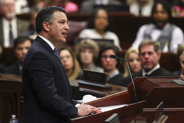 Nevada Gov. Brian Sandoval delivers his final State of the State address at the Legislative Building in Carson City on Tuesday, Jan. 17, 2017. (Chase Stevens/Las Vegas Review-Journal) @csstevensphoto