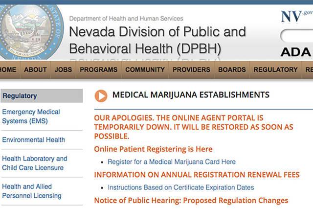 A screenshot of the Nevada Division of Public and Behavioral Health's medical marijuana portal is shown on Dec 12, 2016. (Nevada Division of Public and Behavioral Health)