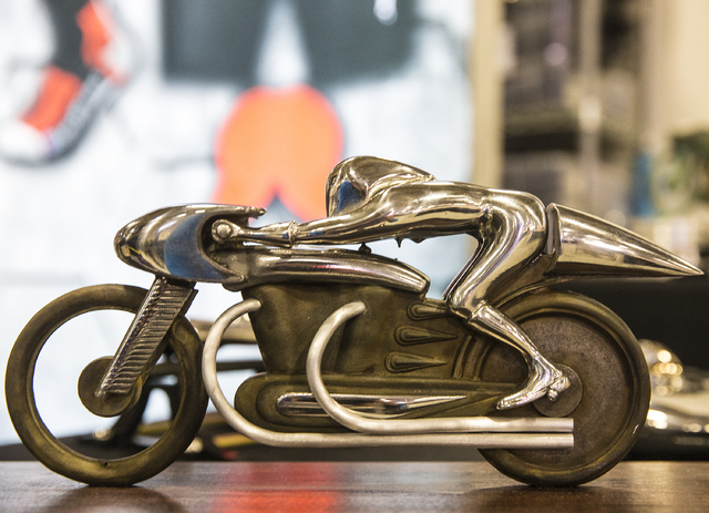 An Eternal Speed funeral urn on display at the 26th annual Mecum Las Vegas Motorcycle Auction at South Point hotel-casino, in Las Vegas. Over 1,000 antique, vintage and collectible motorcycles are ...