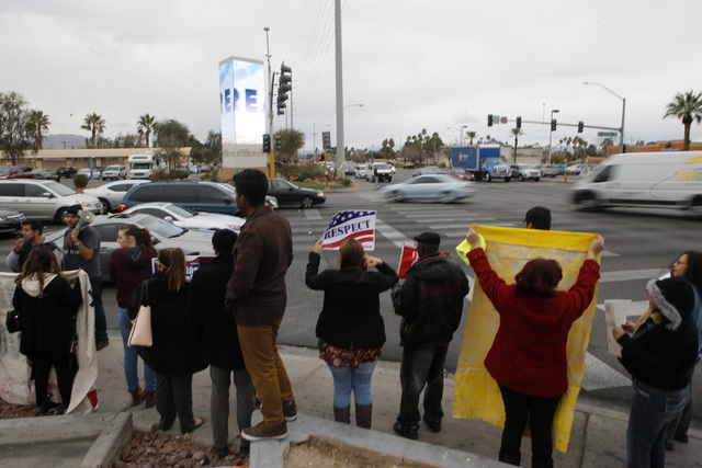Protestors at a Carl's Jr. restaurant at Maryland Parkway and Desert Inn Road on Thursday, Jan. 12, 2017, in Las Vegas. Their goal is to protest President elect Donald Trump's nomination of fast-f ...