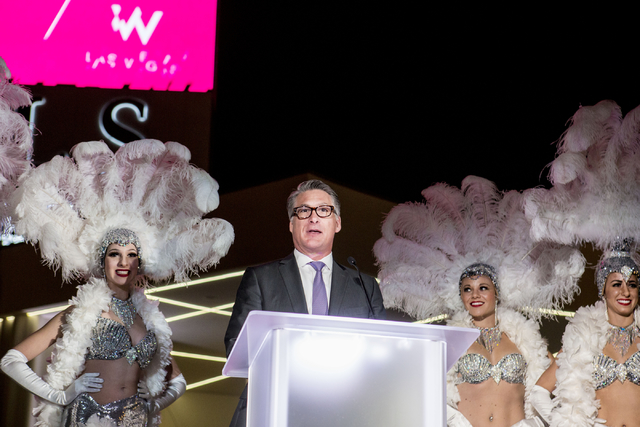 Scott Kreeger, president and COO of SLS Las Vegas, introduces The W Hotels Worldwide debut with a new tower at SLS on Thursday, Dec. 1, 2016, in Las Vegas. (Elizabeth Page Brumley/Las Vegas Review ...