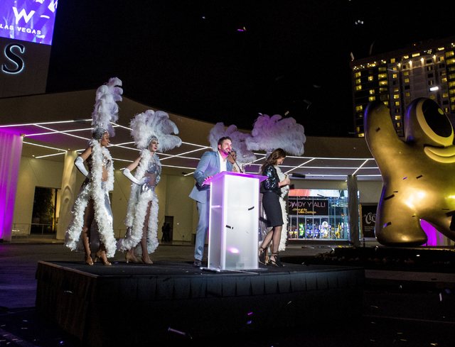 Mark Eberwein, general manager of The W Las Vegas, introduces the Las Vegas hotel during the debut of SLS Las Vegas' new tower Thursday, Dec. 1, 2016. (Elizabeth Page Brumley/Las Vegas Review-Journal)