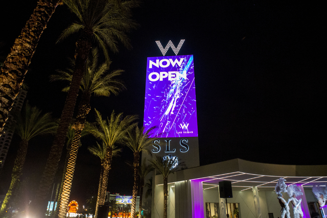 The W Hotels Worldwide sign is illuminated as The W Hotel debuts its new tower at SLS Las Vegas on Thursday, Dec. 1, 2016. (Elizabeth Page Brumley/Las Vegas Review-Journal)