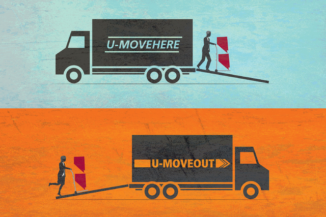 Workforce relocation illustration by Gabriel Utasi/Las Vegas Review-Journal