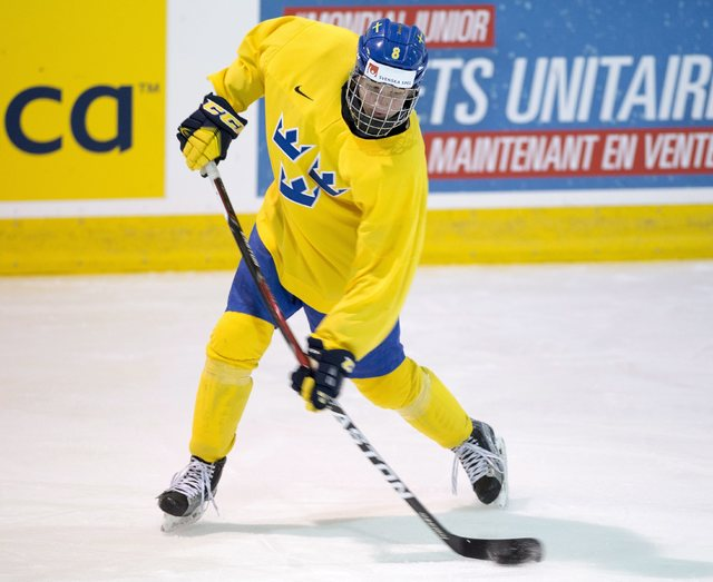 Sweden's Rasmus Dahlin (8) works on his shot during practice at the world junior ice hockey championships Tuesday, Jan. 3, 2017, in Brossard, Quebec. Sweden plays Canada in the semifinals on Wedne ...