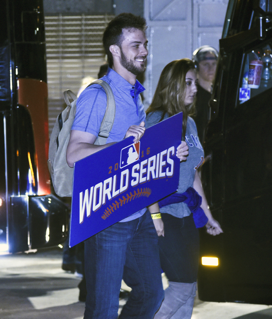 Chicago Cubs third baseman Kris Bryant arrives at Wrigley Field early Thursday, Nov. 3, 2016, after the Cubs defeated the Cleveland Indians 8-7 in Game 7 of the baseball World Series in Cleveland. ...
