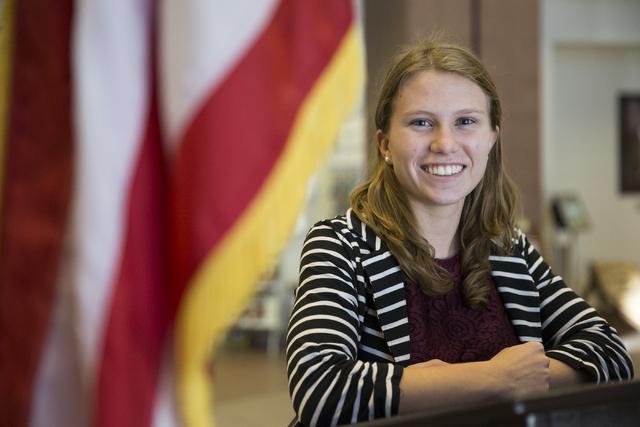 Savanna Strott, a senior at Desert Pines High School and a member of the Nevada Youth Legislature, poses at the Grant Sawyer Building on Tuesday, Dec. 6, 2016, in Las Vegas. (Erik Verduzco/Las Veg ...