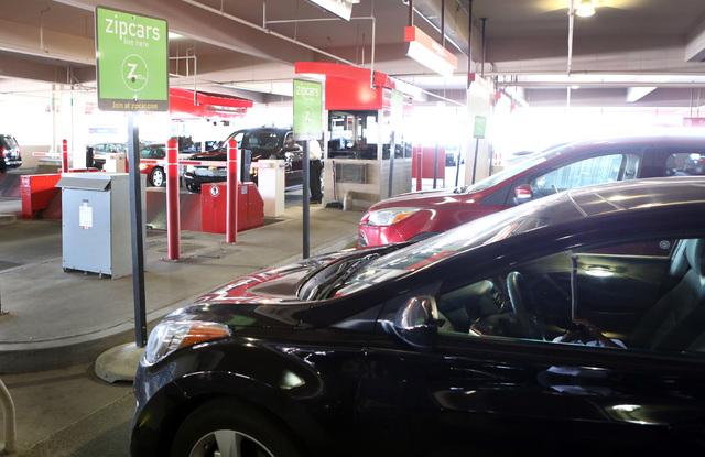 Zipcar vehicles are parked at AVIS car rental lot at McCarran International Airport, on Thursday, Sept. 4, 2014, in Las Vegas. (Bizu Tesfaye/Las Vegas Review-Journal)